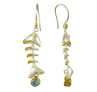 Sterling Silver & 22K Gold Vermeil Fish Bone Earrings with Sky Blue Topaz