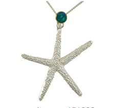 Sterling Silver and 22K Gold Vermeil Starfish Necklace with Opal