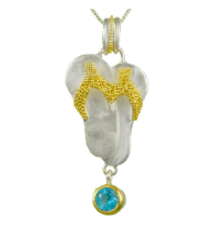 Sterling Silver and 22K Gold Vermeil Flip Flop Necklace with Blue Topaz