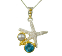 Sterling Silver & 22K Gold Vermeil Starfish Pendant with Blue Topaz and White Freshwater Pearl