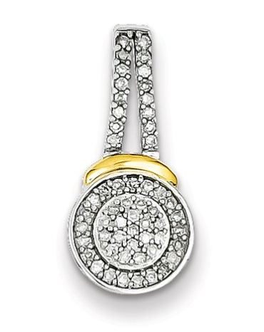 Sterling Silver And 14K Yellow Gold Two Tone Diamond Pendant