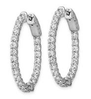 Sterling Silver CZ 46 Stones In And Out Oval Rhodium Plated Hoop Earrings