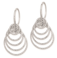 Sterling Silver Rhodium Plated Diamond Cut Circles Dangle Earrings