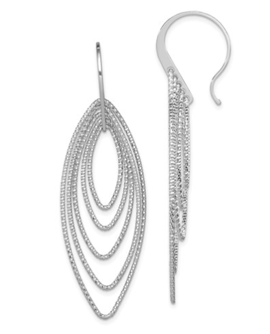 Sterling Silver Rhodium Plated Diamond Cut Oblong Dangle Earrings