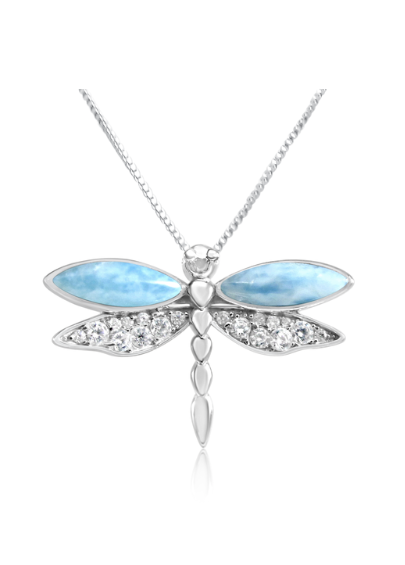 Larimar and Sterling Silver Dragonfly Necklace