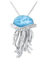 Larimar and Sterling Silver Jellyfish Necklace