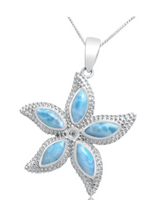 Larimar and Sterling Silver Starfish Necklace