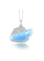 "Larimar and Sterling Silver ""Cruise Ship"" Necklace"