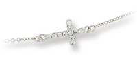 Sterling Silver Sideways Cross Necklace with Clear CZ's
