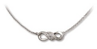 Sterling Silver Infinity Necklace with Clear CZ's
