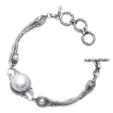 White Mabe and Fresh Water Pearl Two Strand Toggle Bracelet