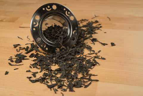 shan valley first flush green tea and strainer
