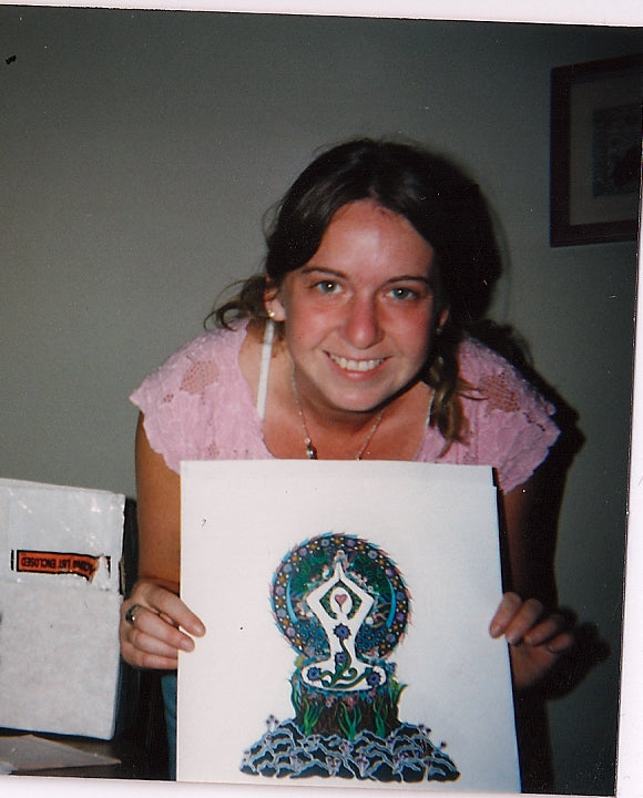 Jocelyn in 1996 with pen and ink drawing