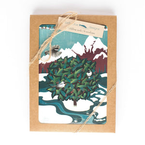 "Greeting Cards - Chickadee Winter Berry - six 4x6"" folded art cards with envelopes"