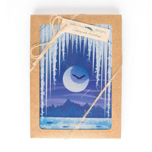 "Load image into Gallery viewer, Box Set of six Greeting Cards - Icicle Moon - 4x6"" folded art cards with envelopes"