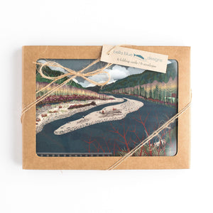 "Greeting Cards - North Fork Winter - six 6x4"" folded art cards with envelopes"
