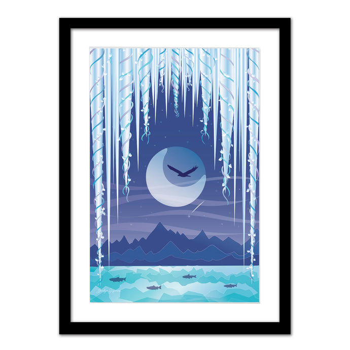 Art Print - Icicle Moon - Framed Giclee Print
