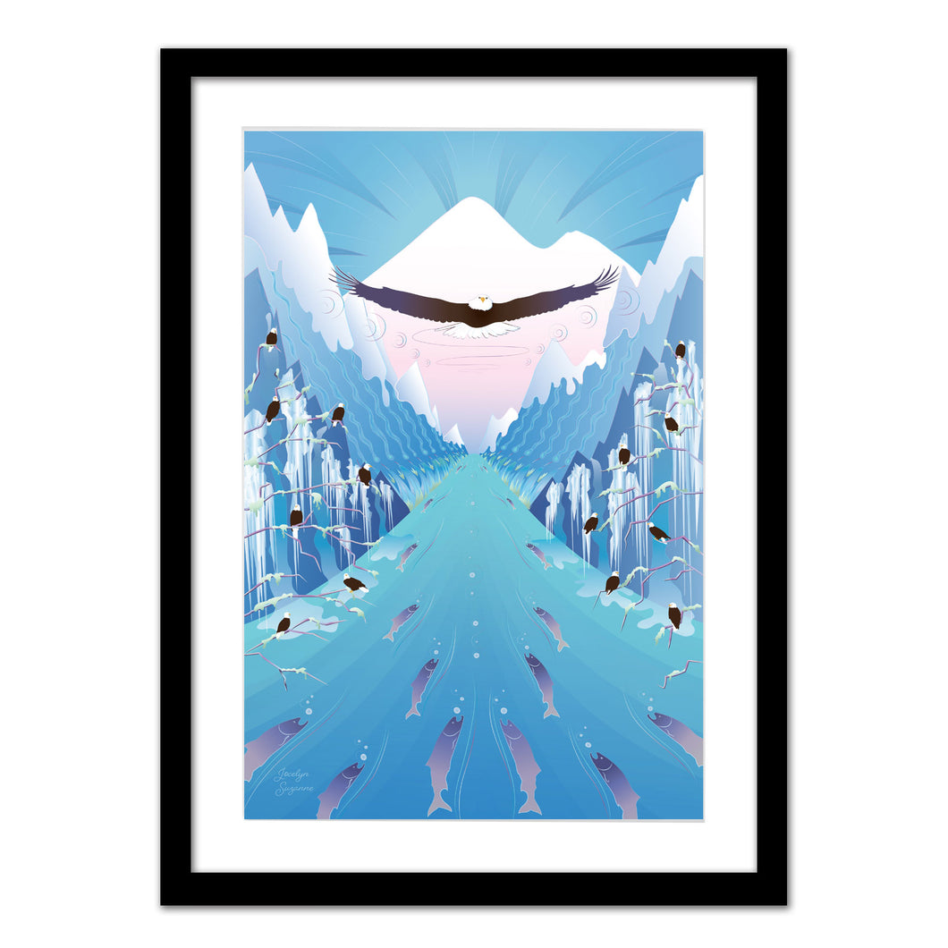 Art Print - Nooksack River Eagles - Framed Giclee Print
