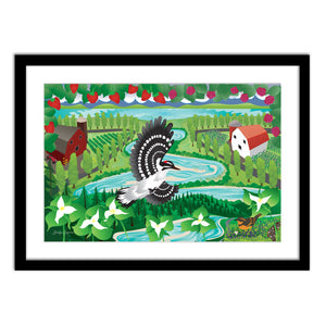 Art Print - Trillium Woodpecker Berries - Framed Giclee Print