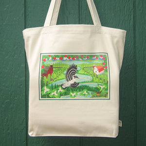 Organic Cotton Tote Bag - Trillium Woodpecker