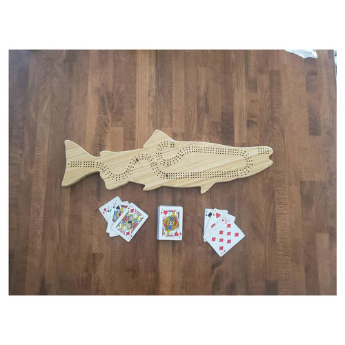 Handmade Chinook Salmon Cribbage Board