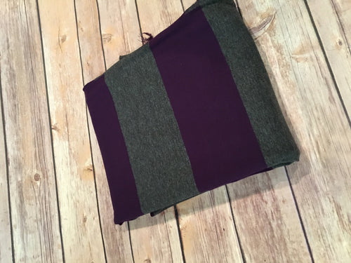 Charcoal/ Plum Rugby Stripe (Yarn Dyed)
