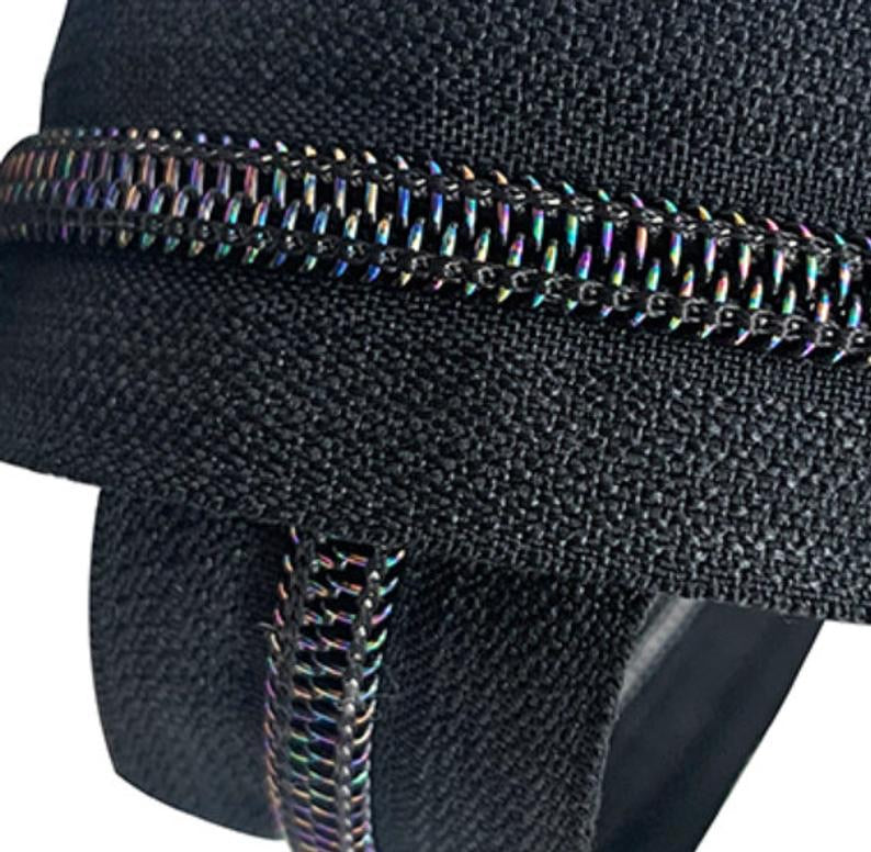 Iridescent Black zipper tape