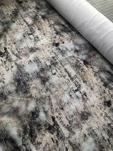 Load image into Gallery viewer, Grey, black and aqua acid wash faux denim