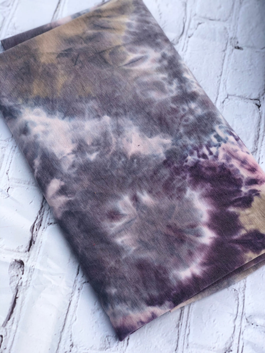 Plum/Tan/Lilac Tye Die Rayon French Terry Knit