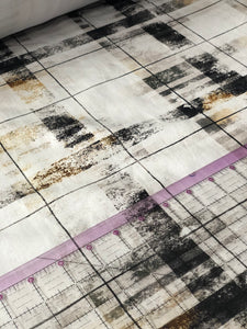 Black, grey,white and rust distressed plaid