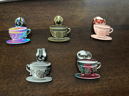Tea Cup zipper pulls