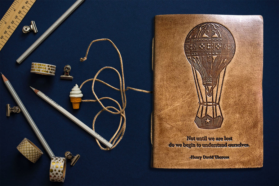 leather Journal | tan leather journal with quote