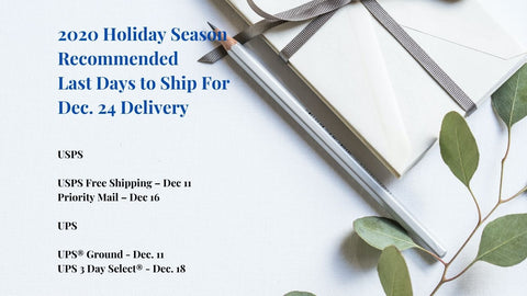 Soothi Holiday Shipping Schedule