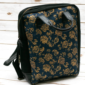 Navy Blue Floral Fabric Boho Backpack  - Leather Journals By Soothi
