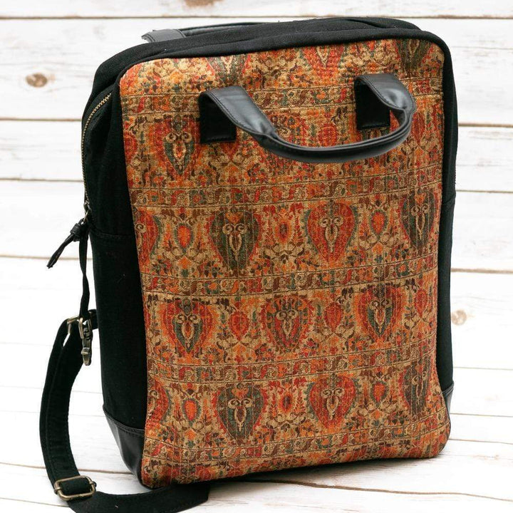 Printed Burnt Orange Fabric backpack  - Leather Journals By Soothi