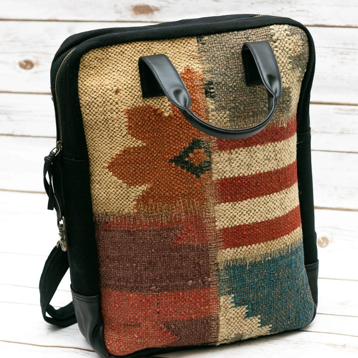 Stitched Kilim Boho backpack  - Leather Journals By Soothi