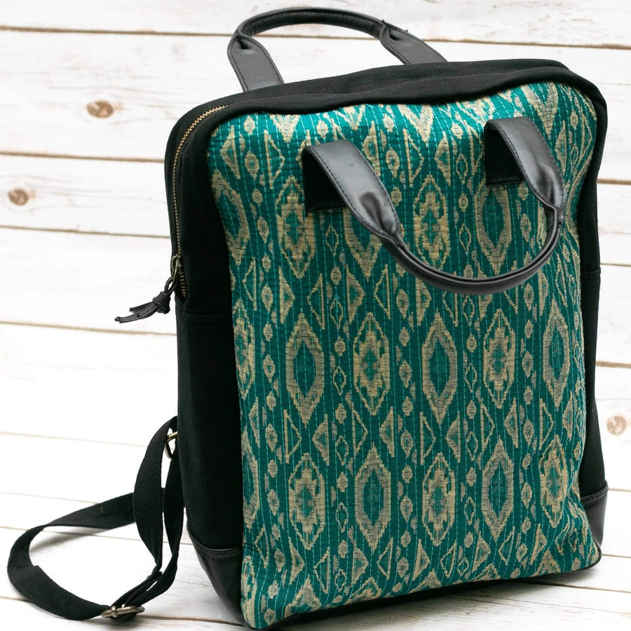 Teal Printed Kilim Fabric Boho Backpack  - Leather Journals By Soothi
