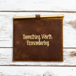 """Something Worth Remembering"" Leather Envelop and Cards - Leather Journals By Soothi"