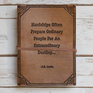 Hardships And Extraordinary Journey C.S. Lewis Quote Leather Journal - 7x5 Tan Color