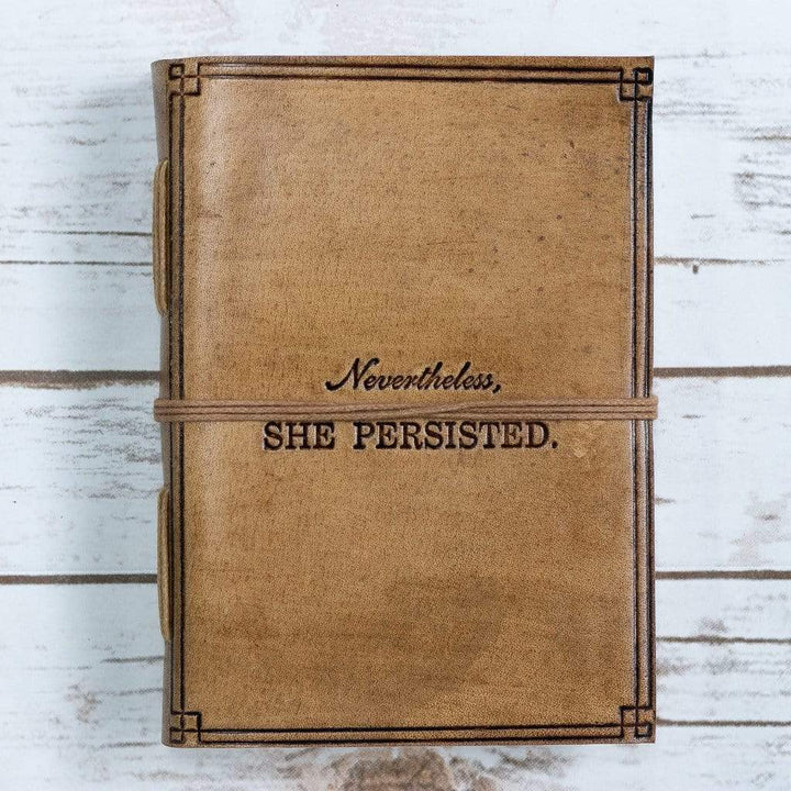 """She Persisted"" Blonde Handmade Leather Journal - Leather Journals By Soothi"