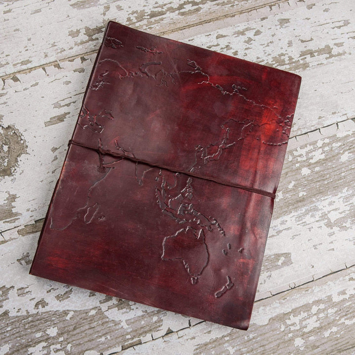 Extra Large World Map Large Handmade Leather Journal - Leather Journals By Soothi