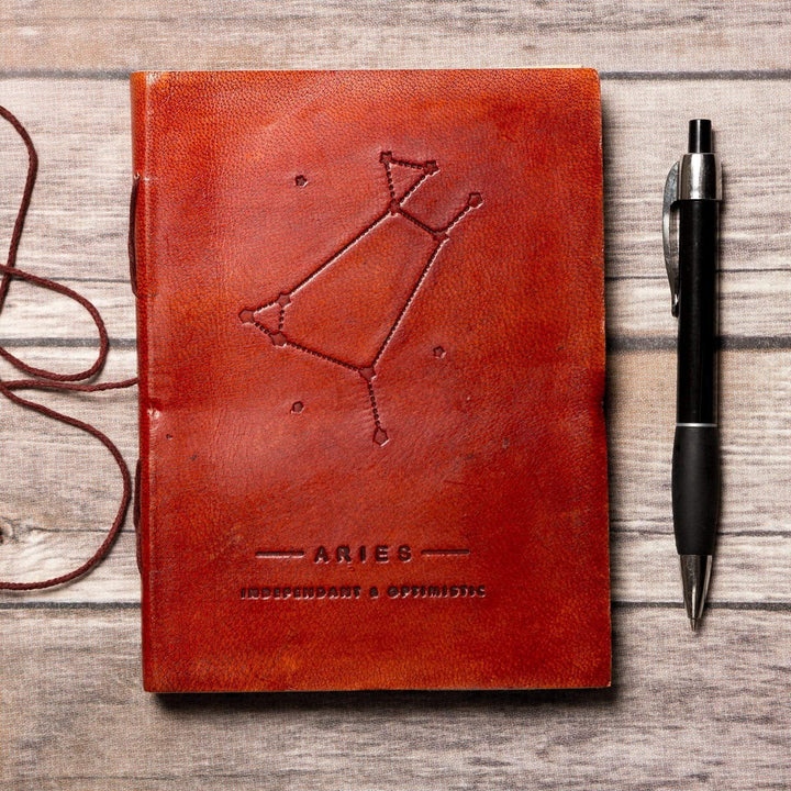 Aries Zodiac Handmade Leather Journal - Leather Journals By Soothi
