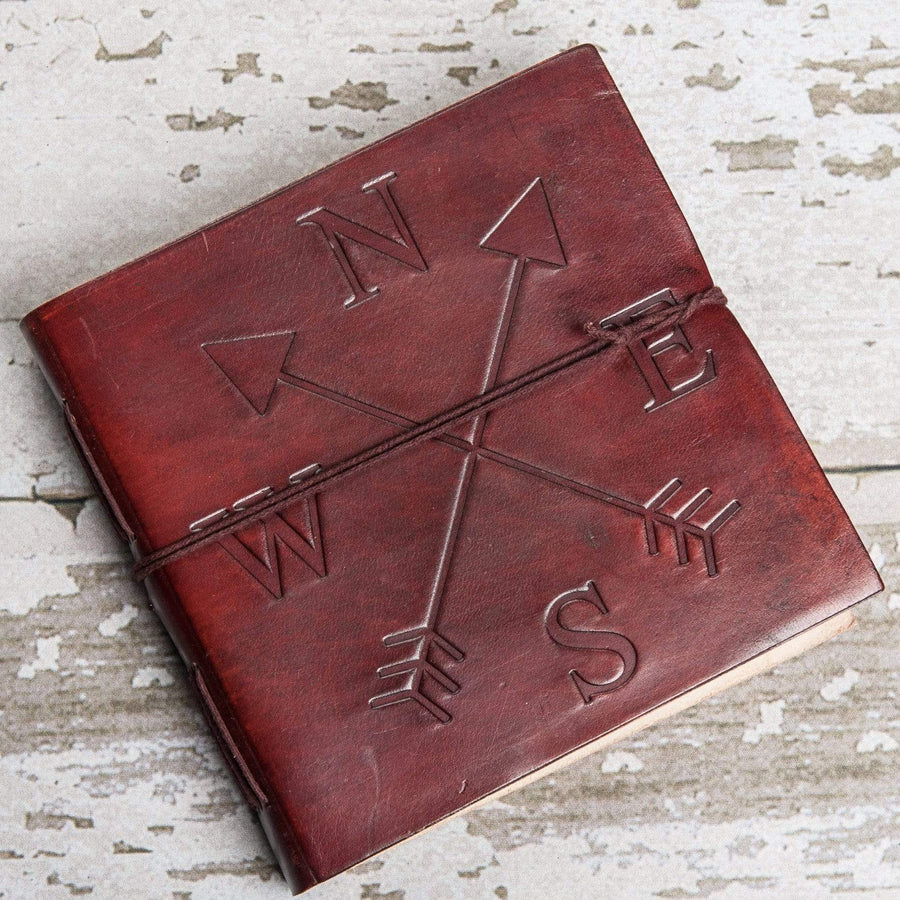 Directions Square Handmade Leather Journal - Leather Journals By Soothi