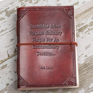 Hardships And Extraordinary Journey C.S. Lewis Quote Leather Journal - 7x5