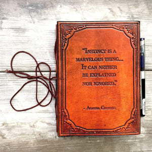 """Instinct Is A Marvelous Thing"" Agatha Christie Handcrafted Leather Embossed Journal - Leather Journals By Soothi"