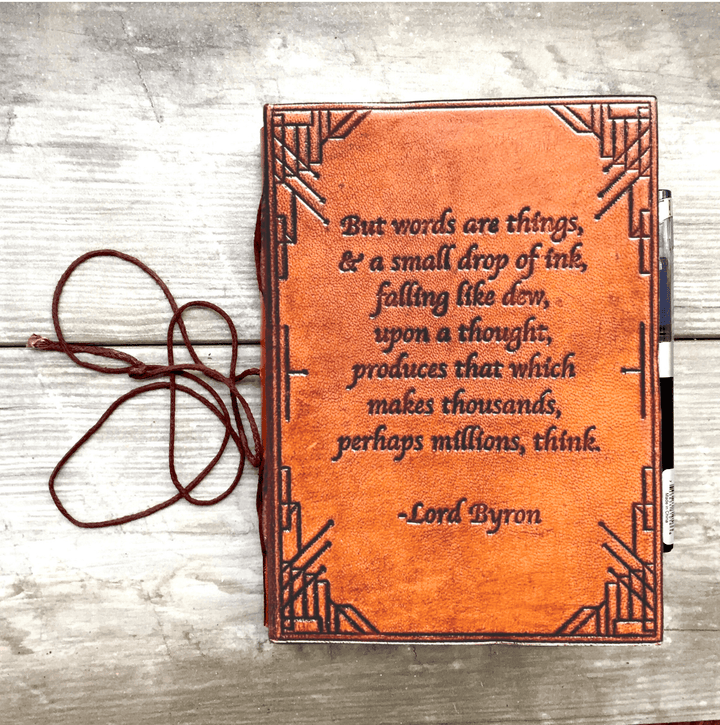 Lord Byron Quote Handcrafted Leather Embossed Journal - Leather Journals By Soothi