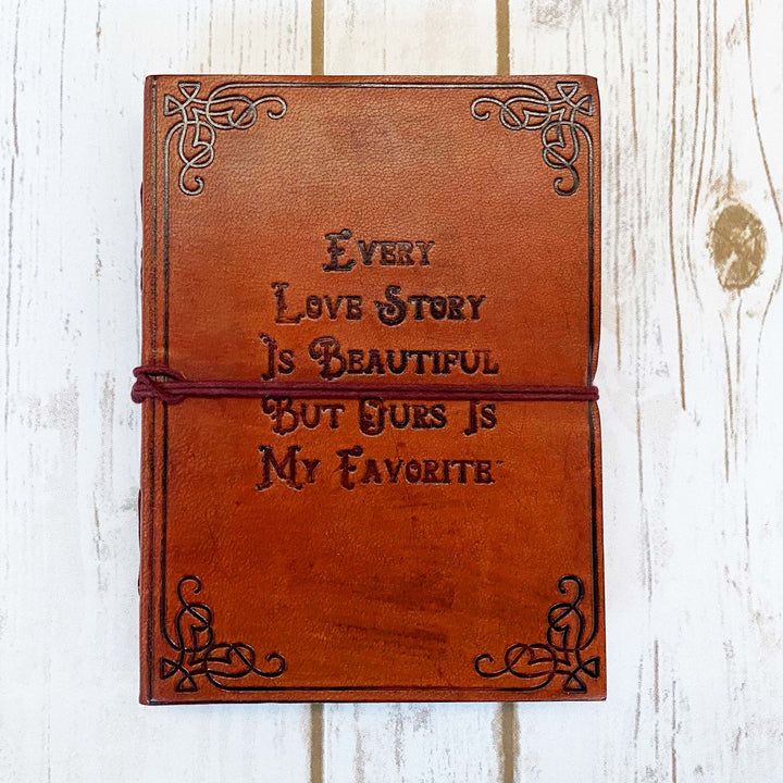 Love Story Quote Embossed Tan Leather Journal - Leather Journals By Soothi