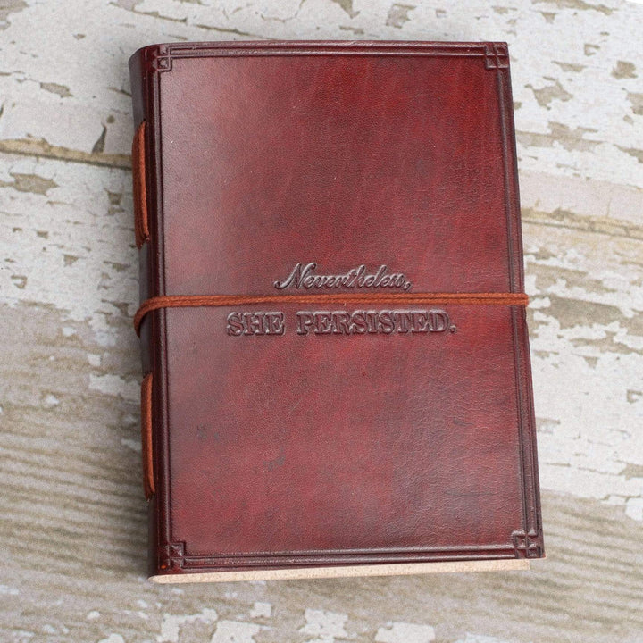 """She Persisted"" Handmade Leather Journal - Leather Journals By Soothi"
