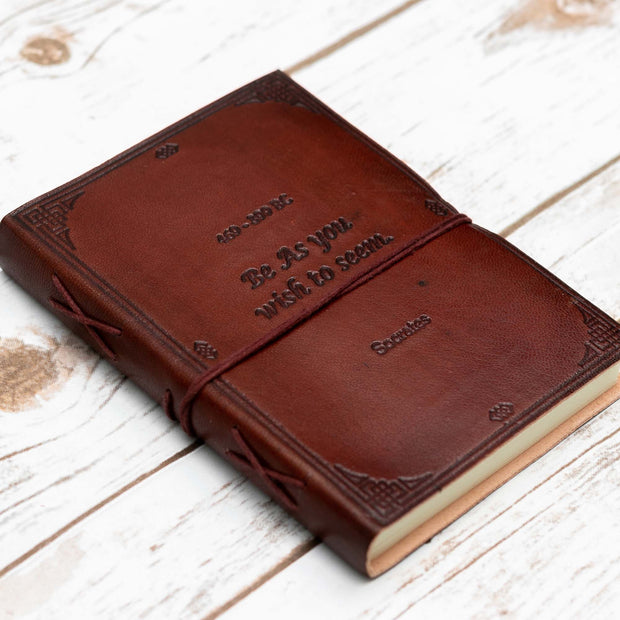 Socrates Be As You Wish To Seem Quote Leather Journal - 7x5 1