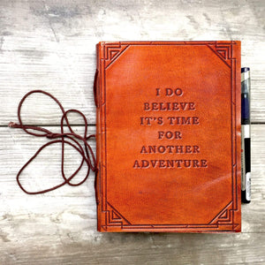 8x6 LINED Paper - Another Adventure Quote Leather Journal - 8x6 LINED Paper